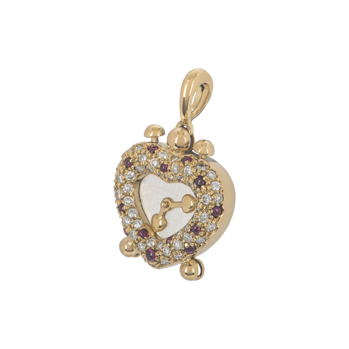 Yellow Gold Diamond and Ruby Heart Clock Pendant
